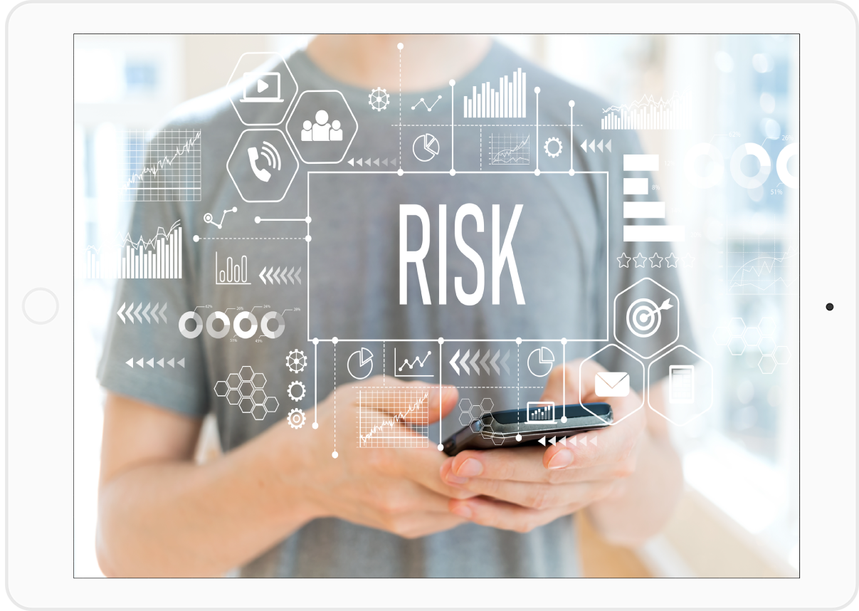 young male holding a smart phone. The word RISK is across the front of th image in an Augmented Reality manner