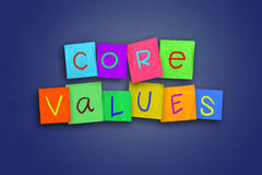 the words 'Core Values' written with each letter on a different color sticky note