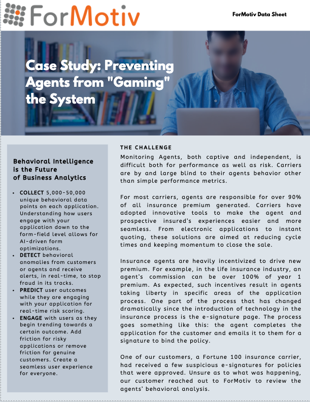 insurance case study preventing risk from agents gaming the system